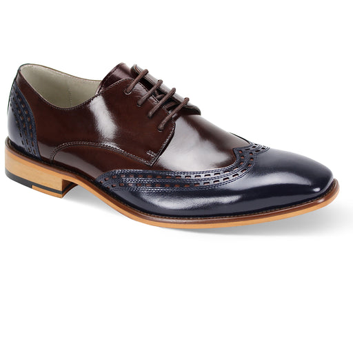 Giovanni Gala Navy/Chocolate Brown Wingtip Oxford Shoes