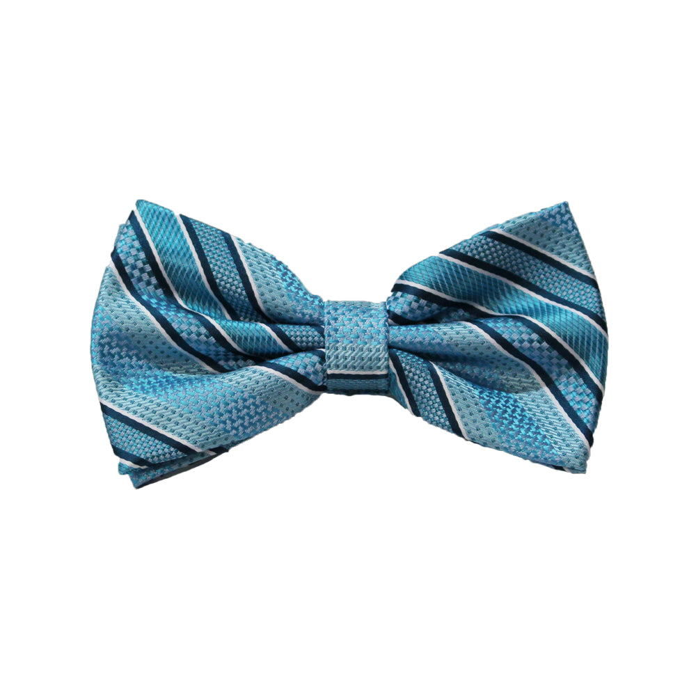 Stacy Adams Turquoise Stripe Bow Tie and Handkerchief