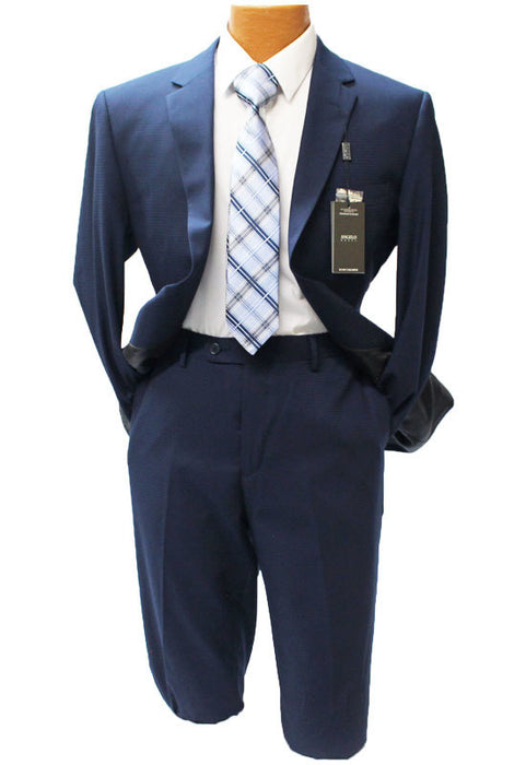 Angelo Rossi Navy Blue Small Check Modern Fit Suit