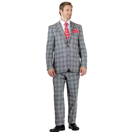 Falcone Bart Revo Grey with Red Classic Fit Suit