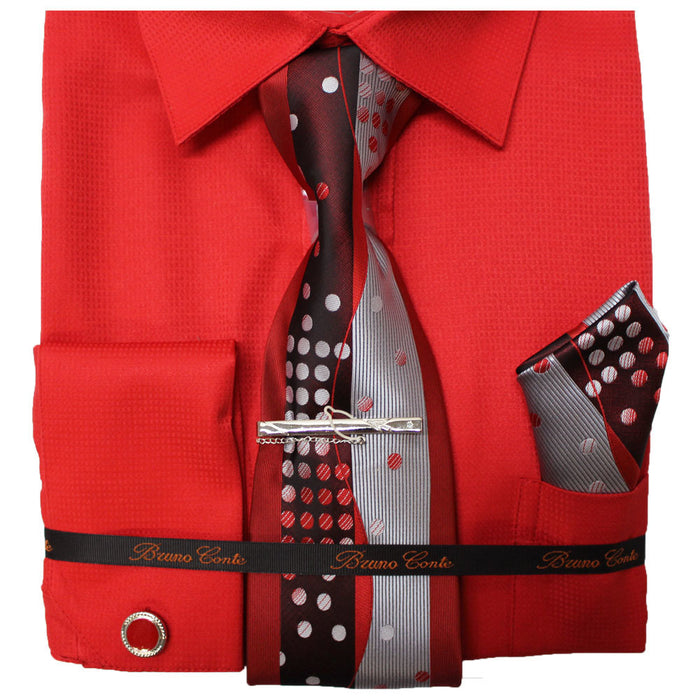 Bruno Conte Red Check Regular Fit Dress Shirt Combo