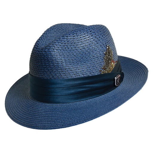 Stacy Adams Dublin Blue Poly Braid Fedora Hat