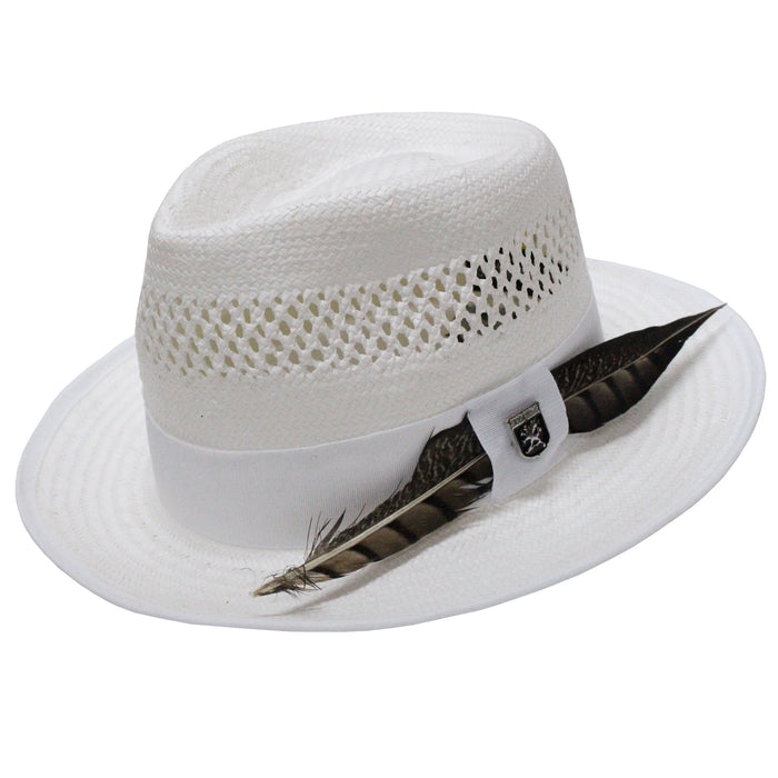 Stacy Adams San Francisco White Toyo Fedora Hat