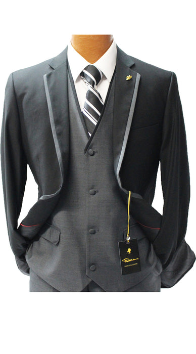 Falcone Coco Black Vested Modern Fit Suit