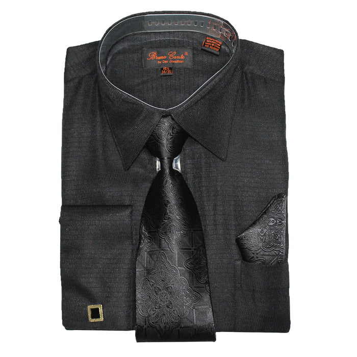 Bruno Conte 052 Black  Regular Fit Dress Shirt Combo