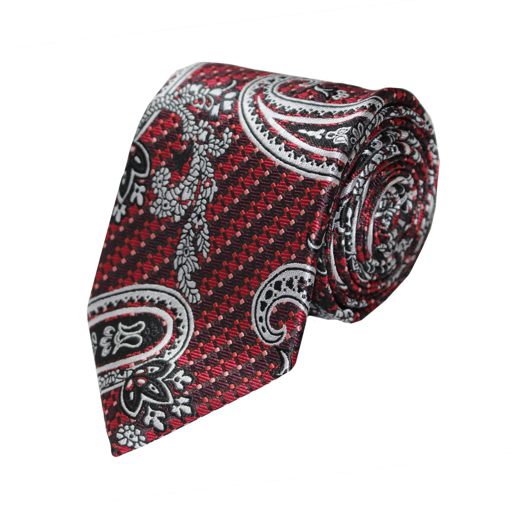 Gianfranco Red and White Paisley Tie and Handkerchief