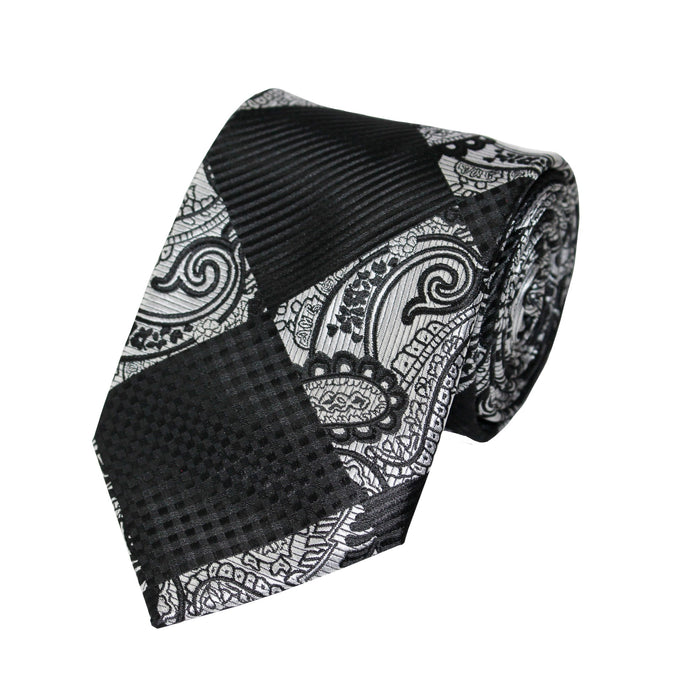 Stacy Adams Black Gray Diamond Geo Tie and Handkerchief