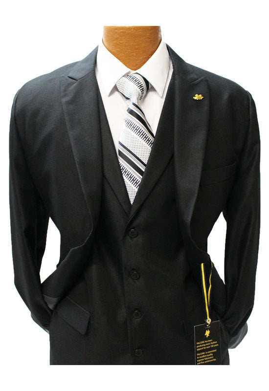 Falcone Pett Jet Black Vested Classic Fit Suit