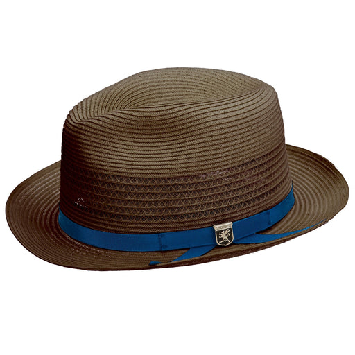 Stacy Adams Dayton Brown Poly Braid Fedora Hat