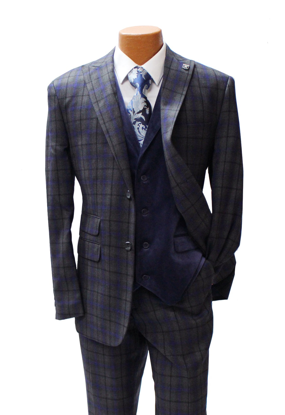 Party Grey Vested Classic Fit Suit