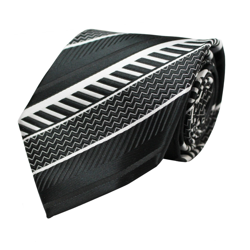 Venturi Uomo Black Pattern Tie and Handkerchief
