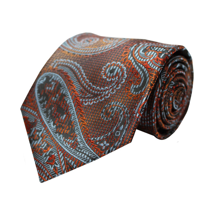 Venturi Uomo Orange Paisley Tie and Handkerchief