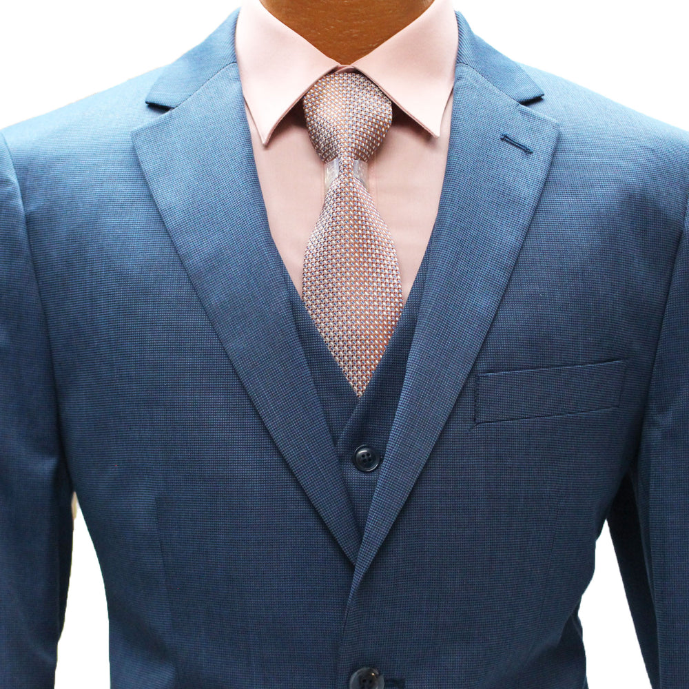 Blue Textured Vested Modern Fit Suit