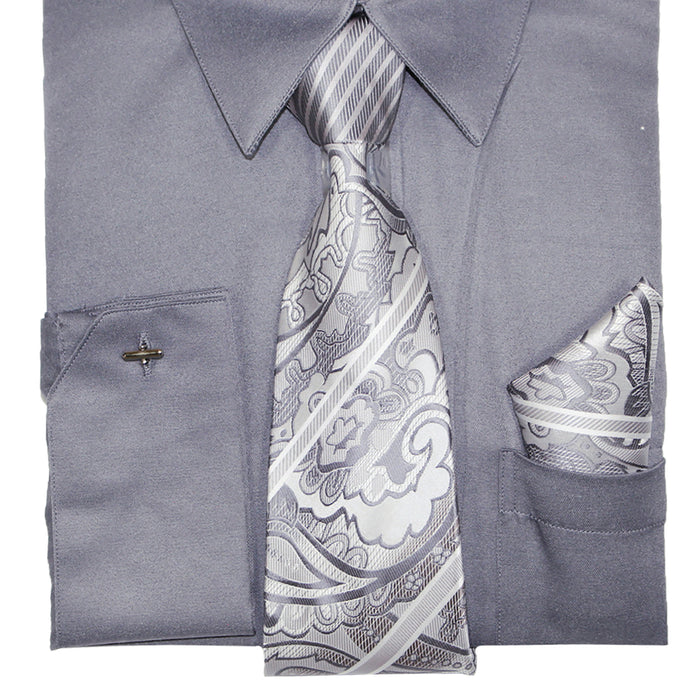 Bruno Conte 1071 Gray Regular Fit Dress Shirt Combo