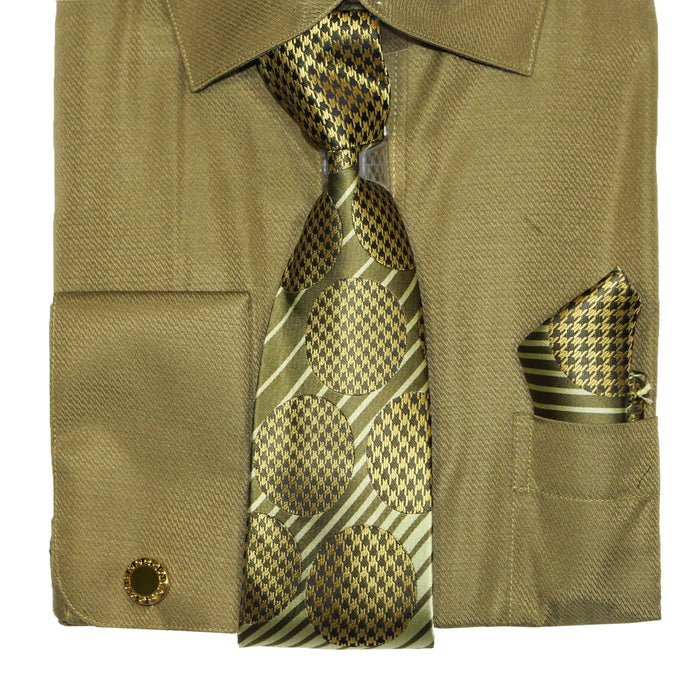 Bruno Conte 1073 Dark Olive Regular Fit Dress Shirt Combo