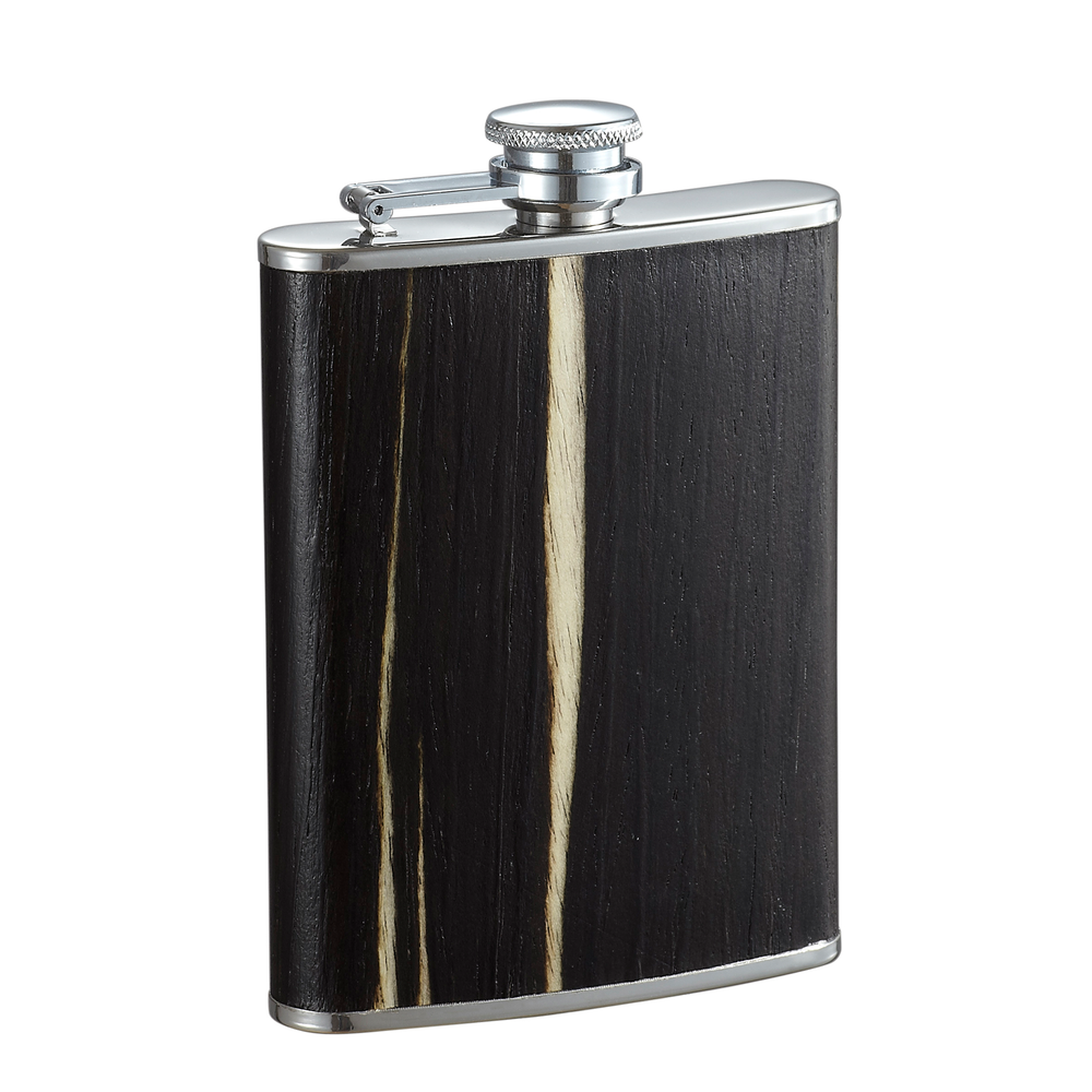 Bark Exotic Dark Wood Finish Liquor Flask - 7 Ounce