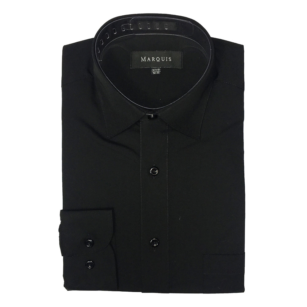 Marquis Black Regular Fit Dress Shirt