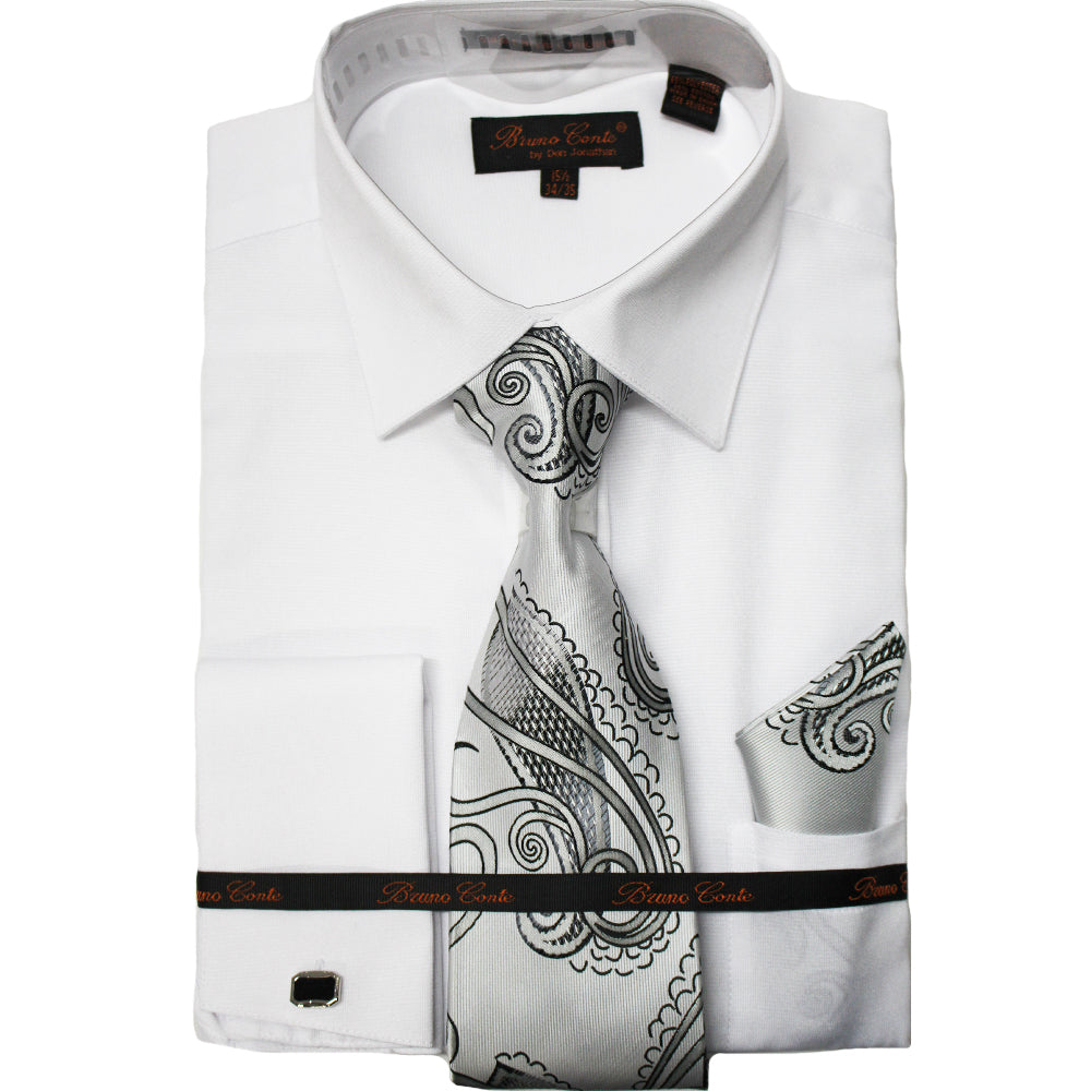 Bruno Conte BC1065 White Regular Fit Dress Shirt Combo