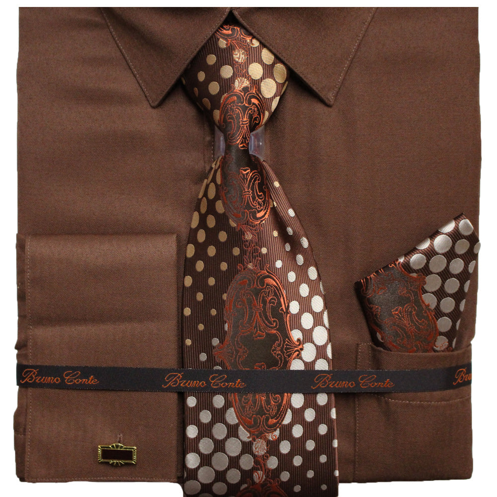 Bruno Conte Brown Regular Fit Dress Shirt Combo