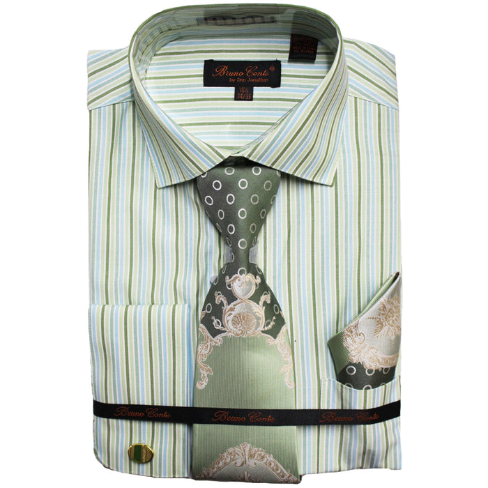 Bruno Conte Green Pinstripe Regular Fit Dress Shirt Combo