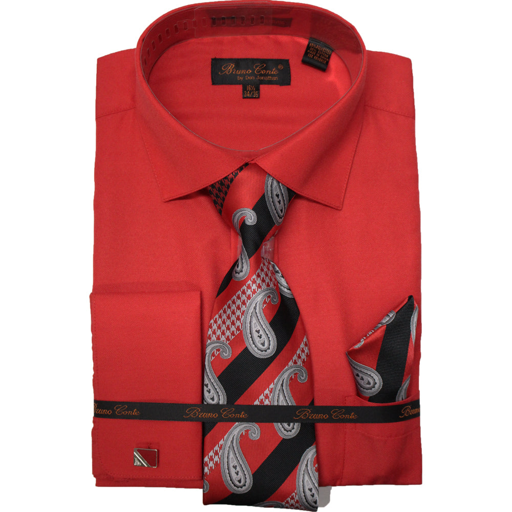 Bruno Conte Red Regular Fit Dress Shirt Combo