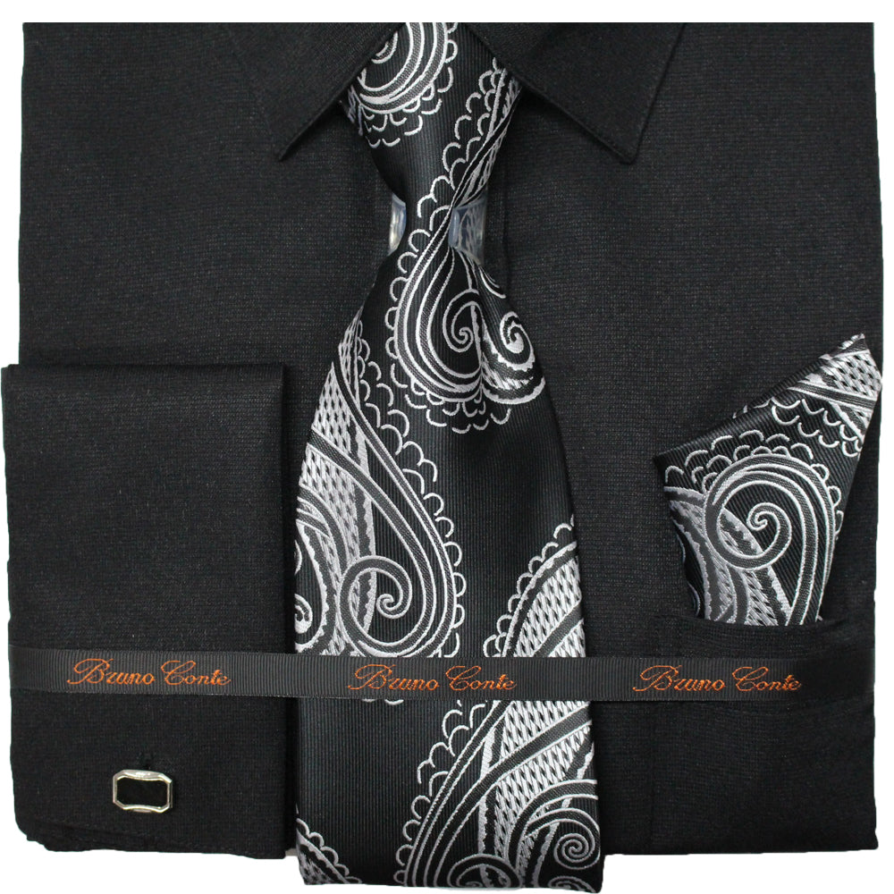 Bruno Conte Black Regular Fit Dress Shirt Combo