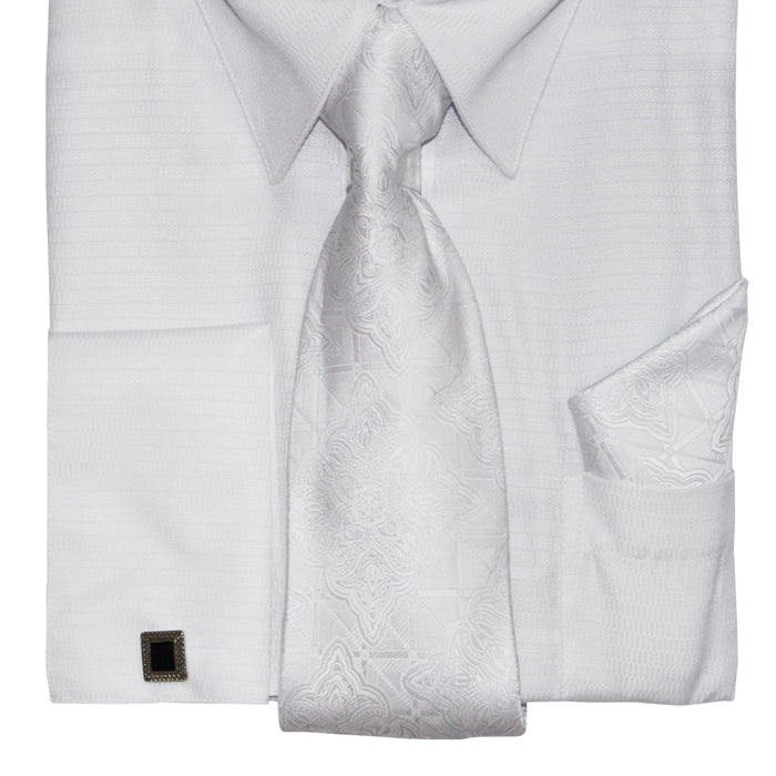 Bruno Conte 052 White Regular Fit Dress Shirt Combo