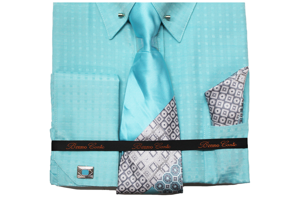 Bruno Conte Turquoise Check Regular Fit Dress Shirt Combo