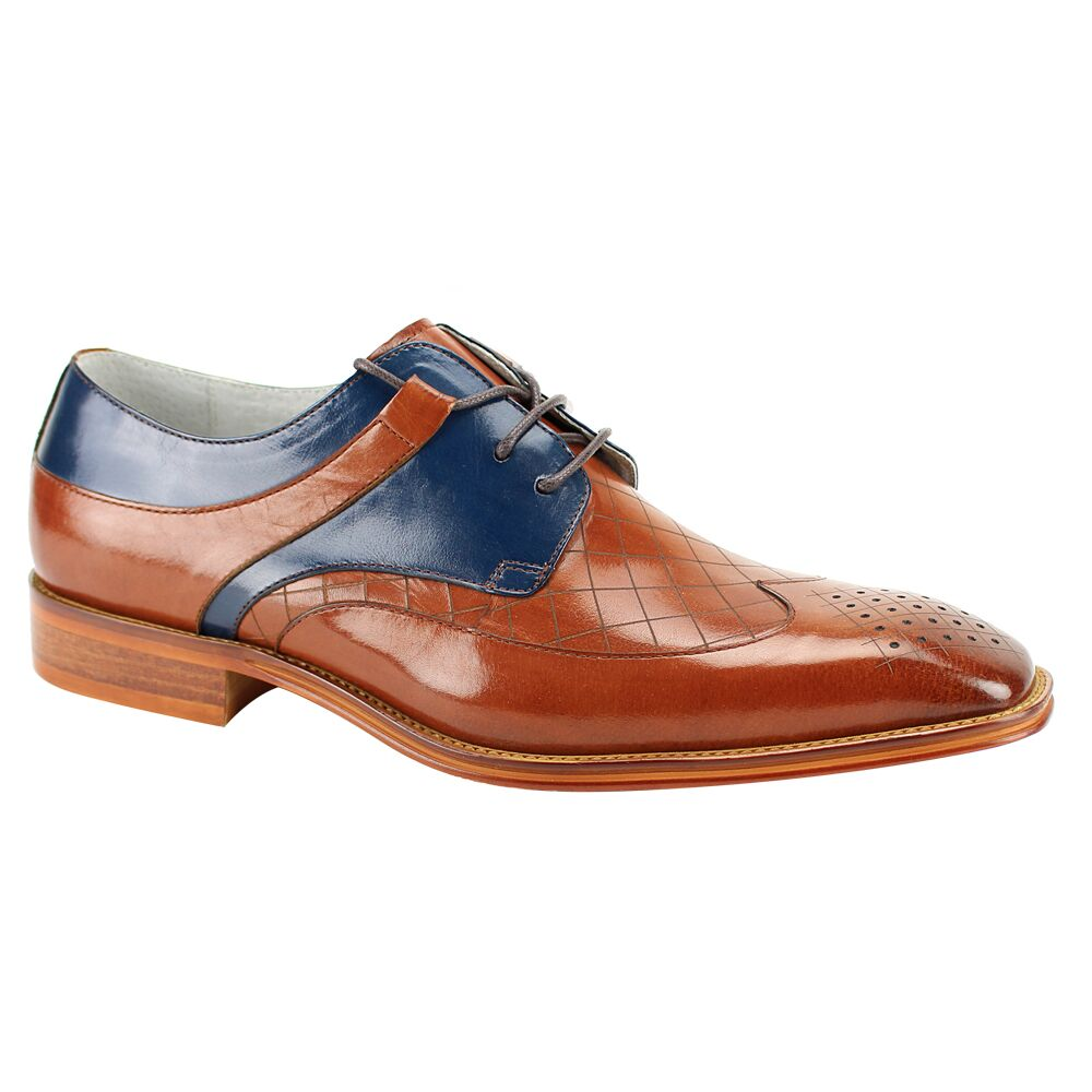 Enzo Caramel and Navy Wingtip Oxford