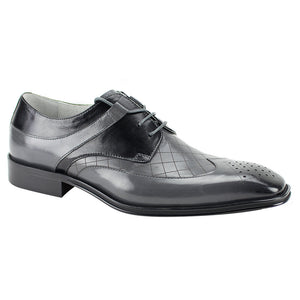 Enzo Grey and Black Wingtip Oxford