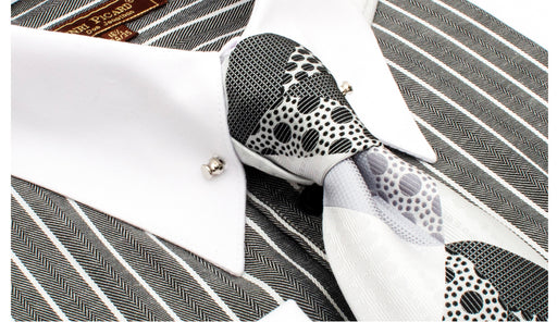 Henri PIcard Grey and White Pinstripe Dress Shirt Combo