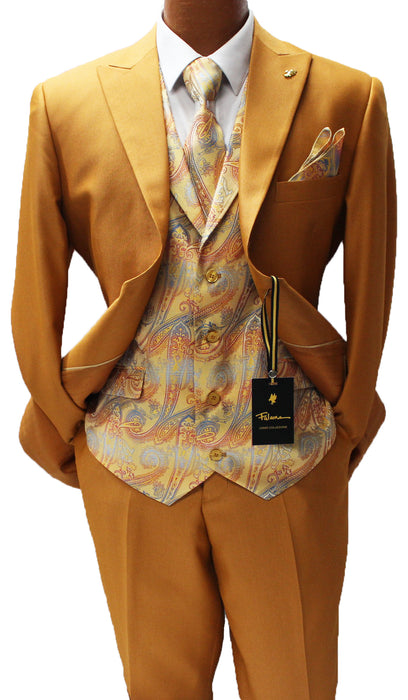 Falcone City Rust Six Piece Vested Modern Fit Suit