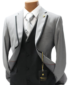 Falcone Coco Gray Vested Modern Fit Suit