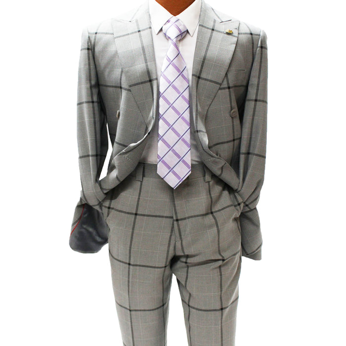 Falcone Lamb Grey Double Breasted Classic Fit Suit