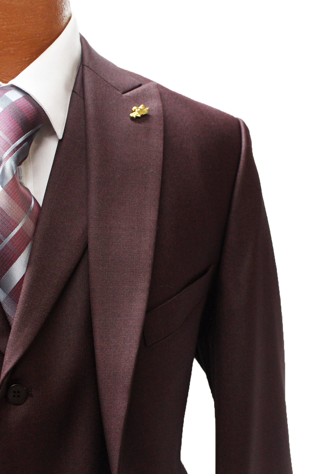 Pett Burgundy Vested Classic Fit Suit