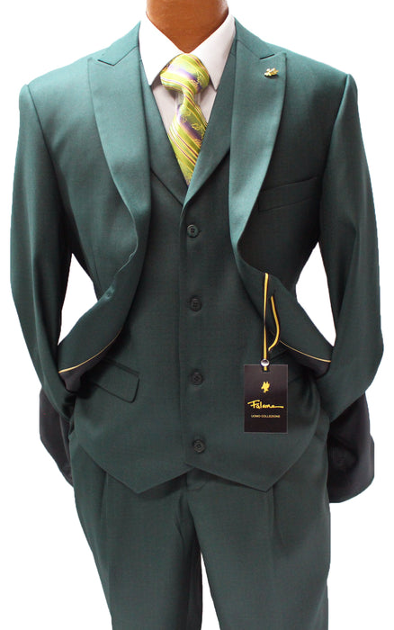 Falcone Pett Forest Green Vested Classic Fit Suit