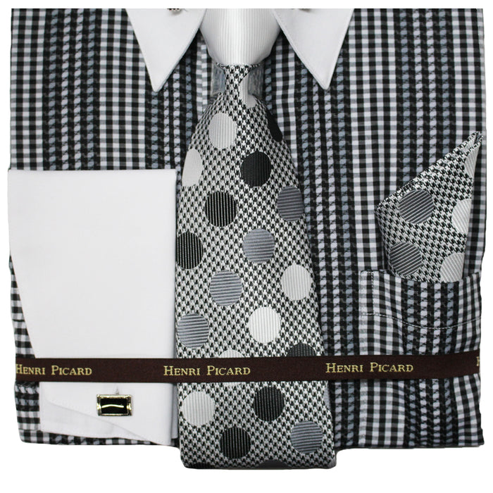 Henri Picard Gray and Black Regular Fit Dress Shirt Combo
