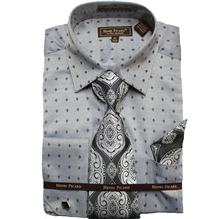 Henri Picard Gray Diamond Regular Fit Dress Shirt Combo