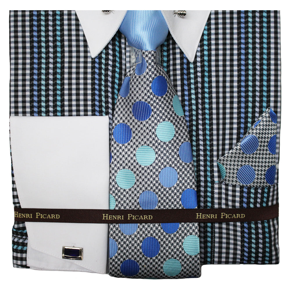 Henri Picard Blue and Grey Regular Fit Dress Shirt Combo