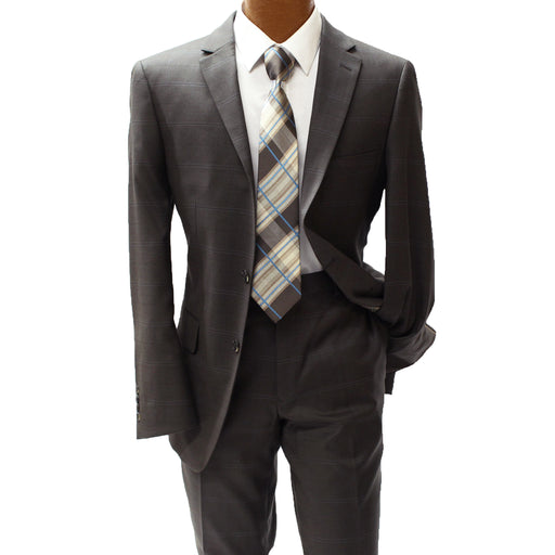 TopLapel Brown and Blue Windowpane Modern Fit Suit