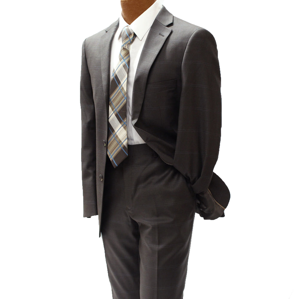 Top Lapel Brown and Blue Windowpane Modern Fit Suit