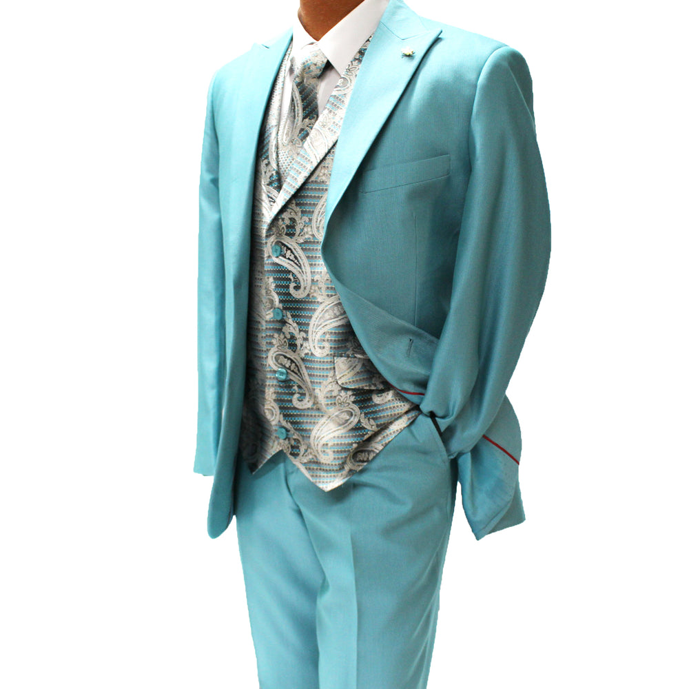 Falcone City Teal Six Piece Vested Classic Fit Suit
