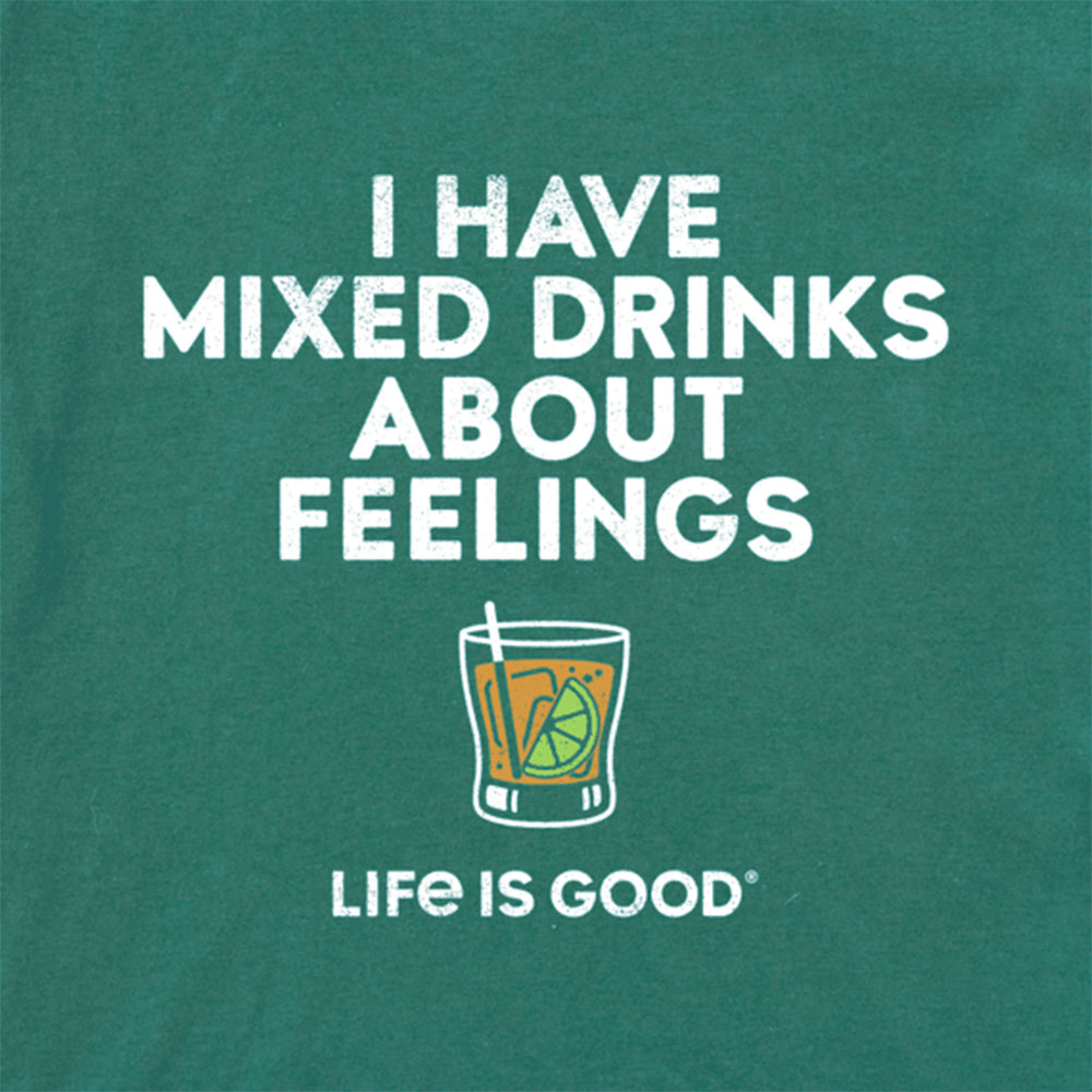 Life is Good Men's Mixed Drinks Feelings Crusher Tee - Spruce Green