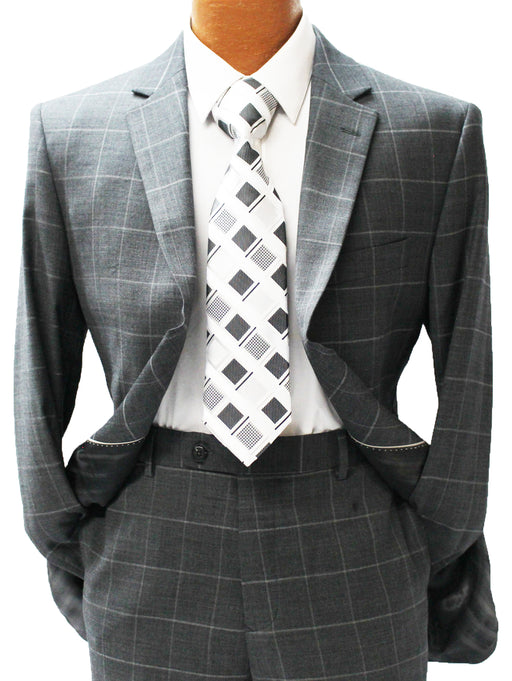MDZ Charcoal Windowpane Modern Fit Suit