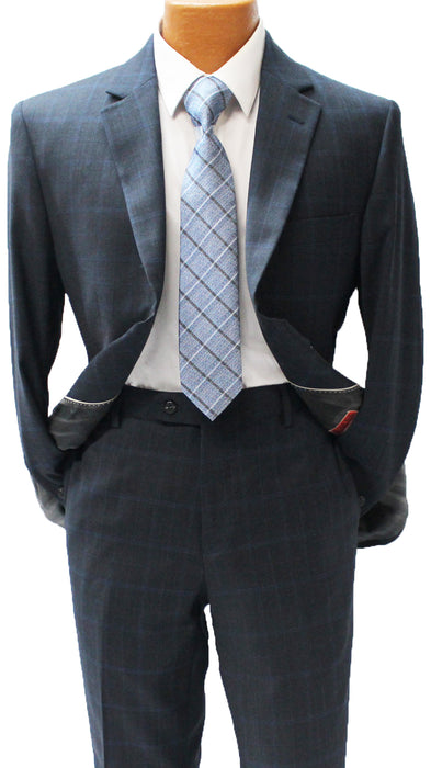 MDZ Navy with Blue Windowpane Modern Fit Suit