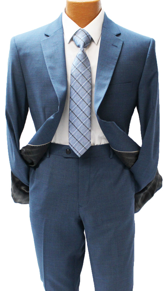 MDZ Blue Textured Modern Fit Suit