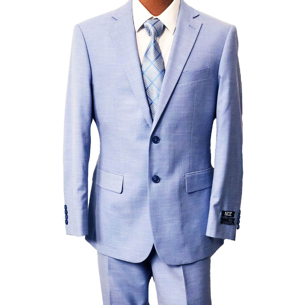 Light Blue Textured Modern Fit Men's Suit