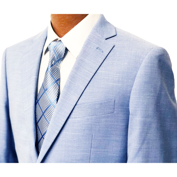 MDZ Light Blue Textured Modern Fit Men's Suit