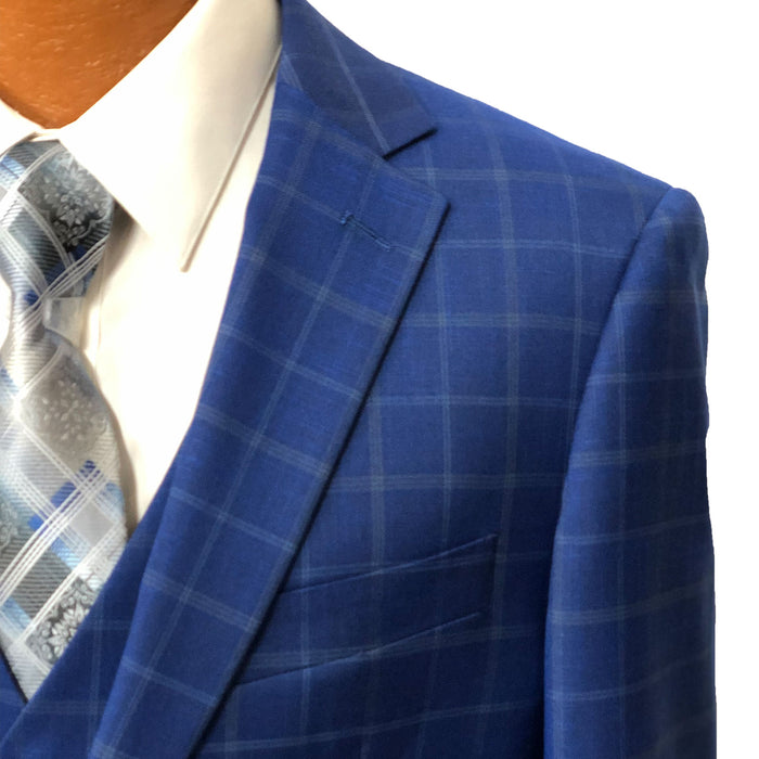 MDZ Medium Blue Windowpane Modern Fit Vested Men's Suit