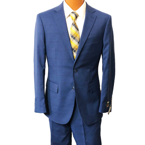 MDZ Blue Windowpane Modern Fit Men's Suit